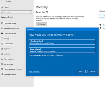 Optimize Windows 10 Pc Reset Using The Cloud