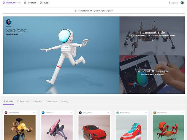 Screenshot of a variety of shared 3D images.