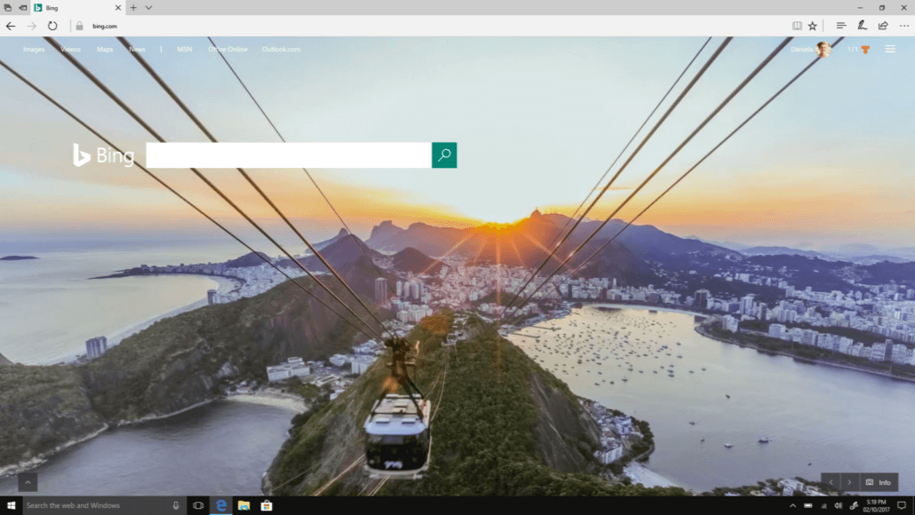 Desktop version of Bing search engine featured in Microsoft Edge browser for Win 10 S.