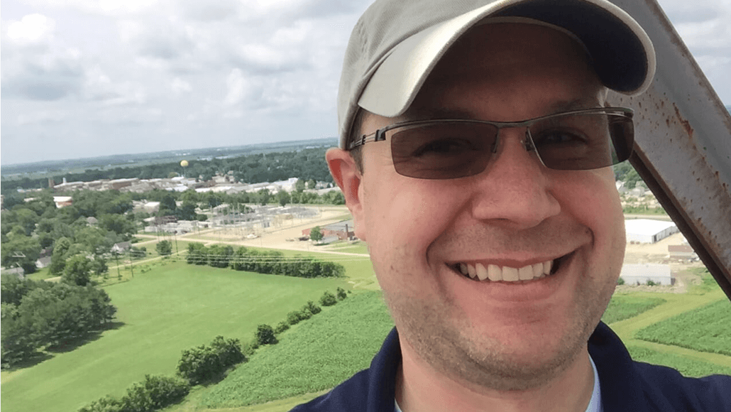 Doug Kinzinger 200 feet in the air, on a grain elevator