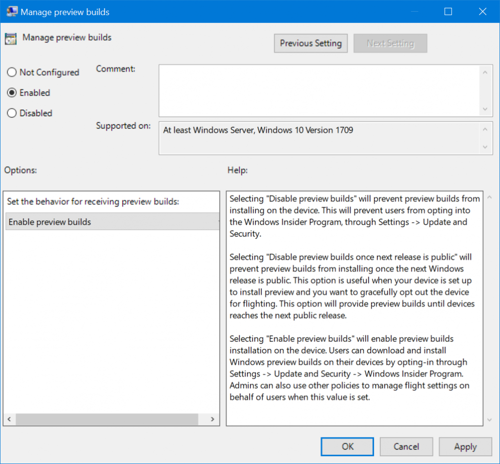 "Screenshot of ""Manage preview builds"" with option set to enabled."