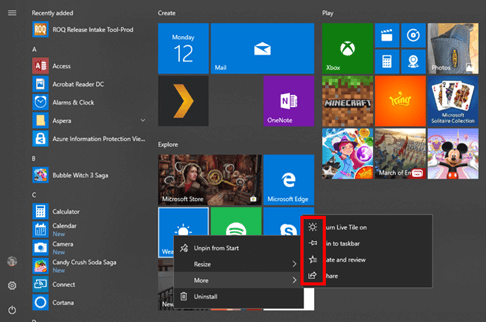 start menu with icons circled