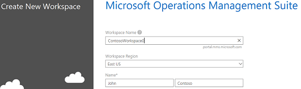 Create new OMS workspace screenshot