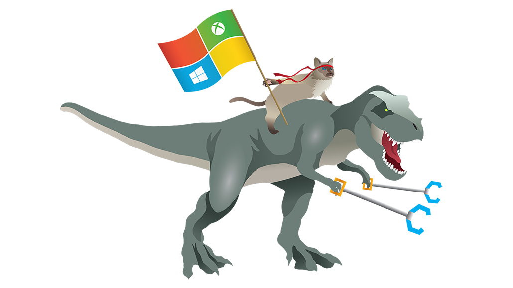 Graphic of a ninja cat waving a Microsoft Windows flag while riding at top a T-Rex.