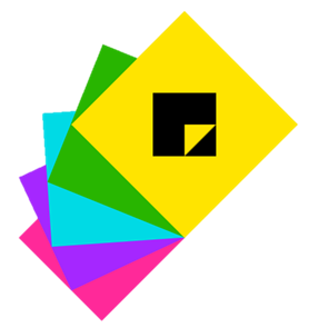 Sticky Notes logo. Shows multiple sticky notes stacked on top of each other with colors: Pink: Purple, Blue, Green and Yellow with Sticky Notes icon on top.