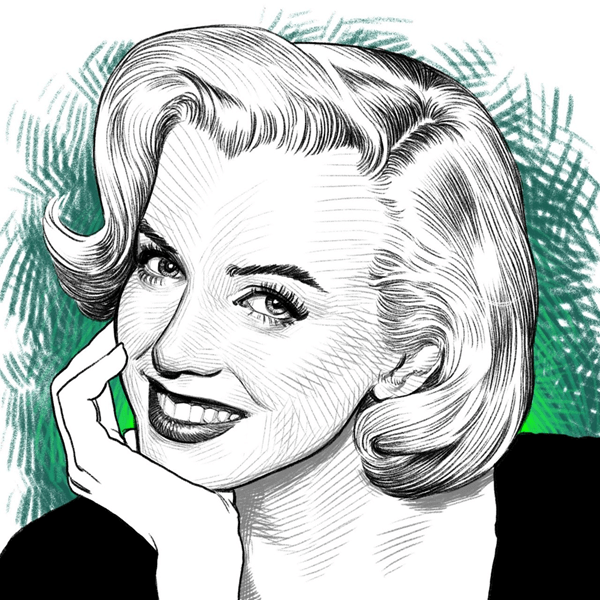 A portrait made in Infinite Painter of Marilyn Monroe made on Hamilton's Samsung Galaxy Note 5.