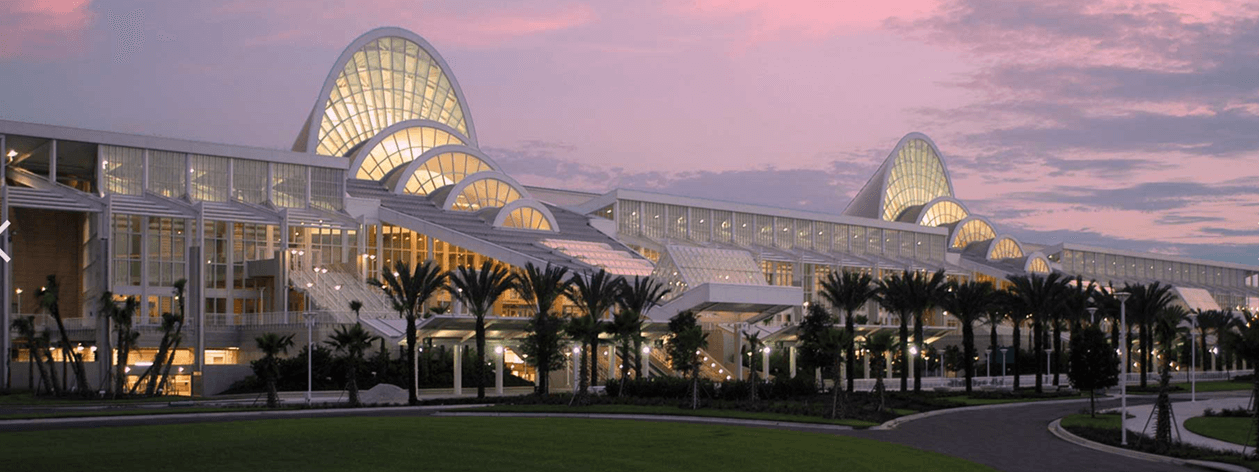 Orlando Convention Center at sunset.