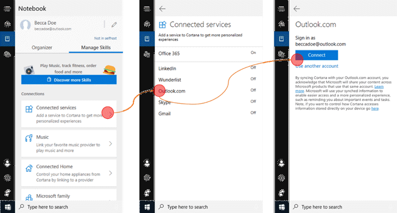 Example of reminders and lists in Cortana, Microsoft To-Do and Outlook.