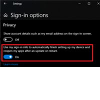 Screenshot of Sign-in options.