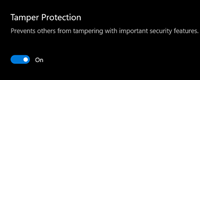Screenshot of tamper protection notice.
