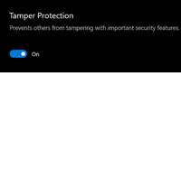 Screenshot of tamper protection notice.