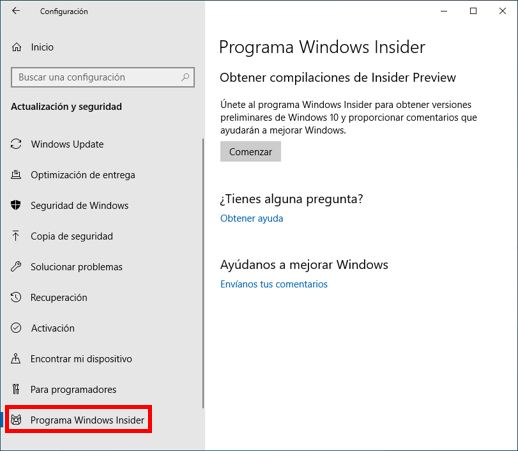 Windows setting screen with Windows Insider Program highlighted