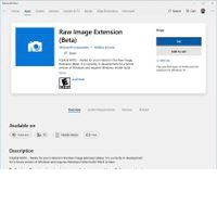 Screenshot of raw image extension in MS Store.