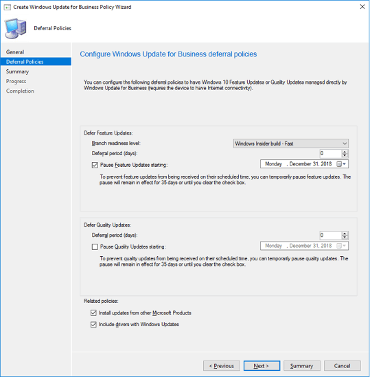 Screenshot of 'Create Windows Update for Business Policy Wizard'.