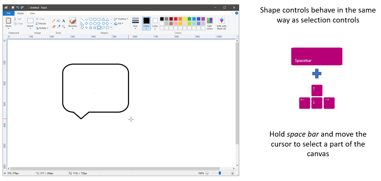 Callout shape with instructions to use the previous instructions for selection options, and to hold the space bar and move the cursor to select part of canvas.