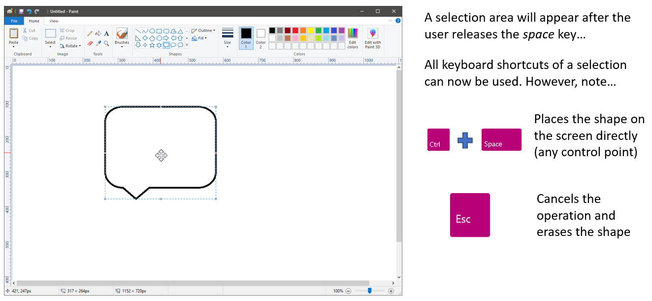 Selected shape with instructions to use any keyboard shortcut, and that control plus space places the shape on the screen directly and escape key cancels the operation and erases the shape.