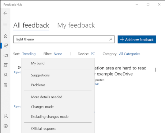 Feedback screenshot with 'Light theme' filtered.