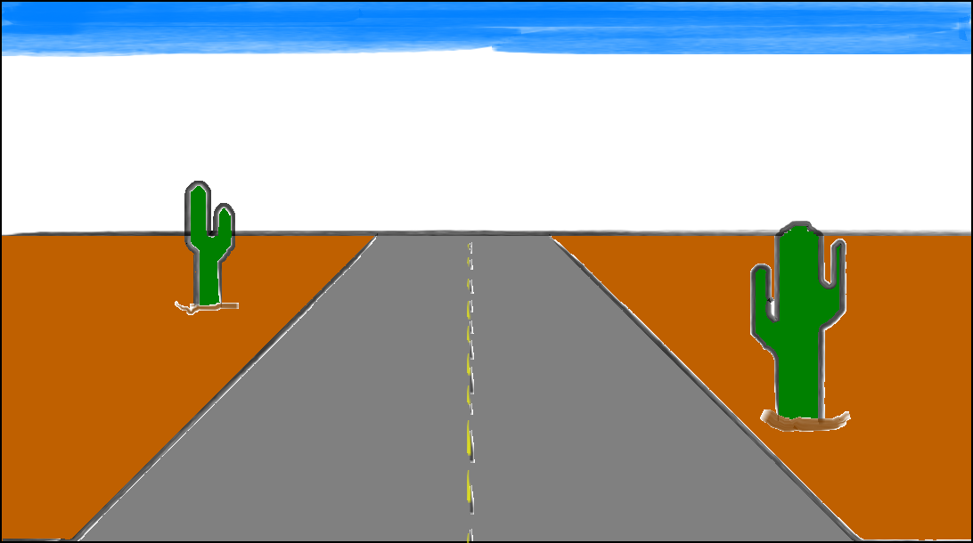 Image of highway with a cactus on each side.