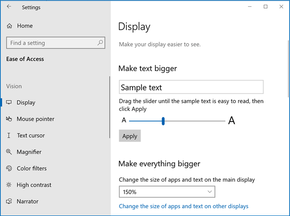 Ease of Access Display settings showing text resizing slider.