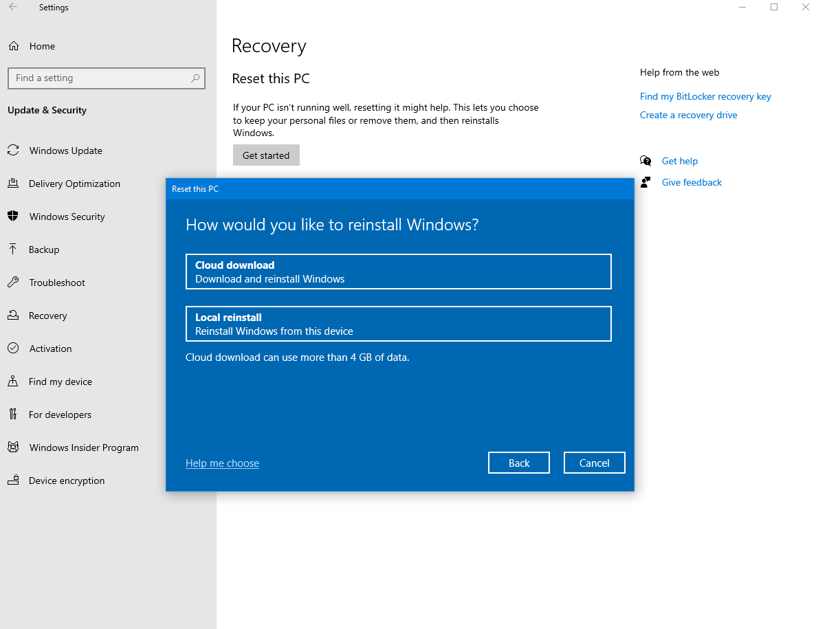 Screenshot of how to choose an option for resetting a PC (Cloud download or Local reinstall).
