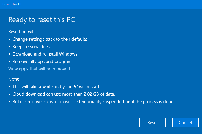 Screenshot of the message providing final confirmation that the user wants to reset the PC.