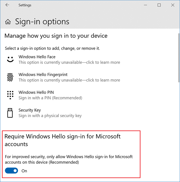 Sign-in options screen with 'Require Windows hello sign-in for Microsoft accounts' toggled on.