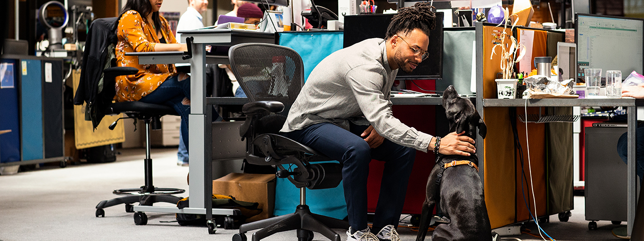 Man pets his dog while sitting at his desk in a high tech work area.