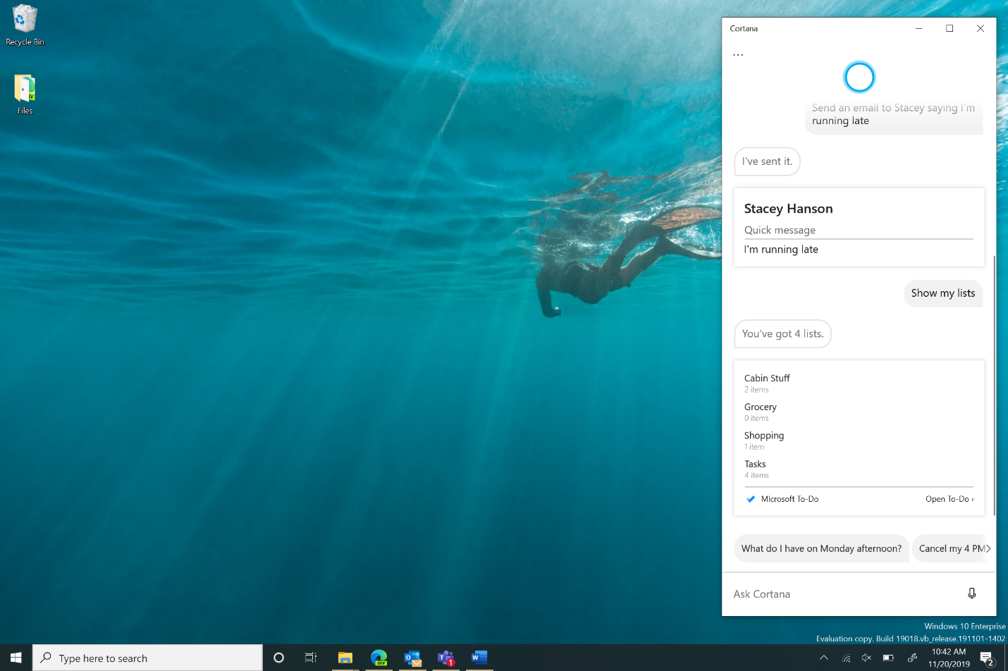 Windows preview build desktop with the new Cortana on Windows (Beta) open, showing Cortana sending an email to Stacey that you're running late.