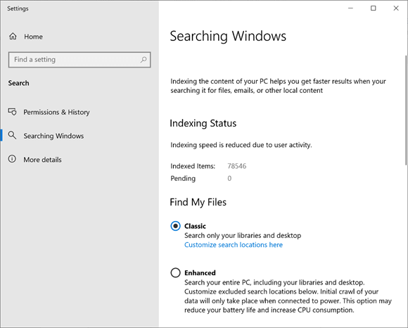Searching windows screen.