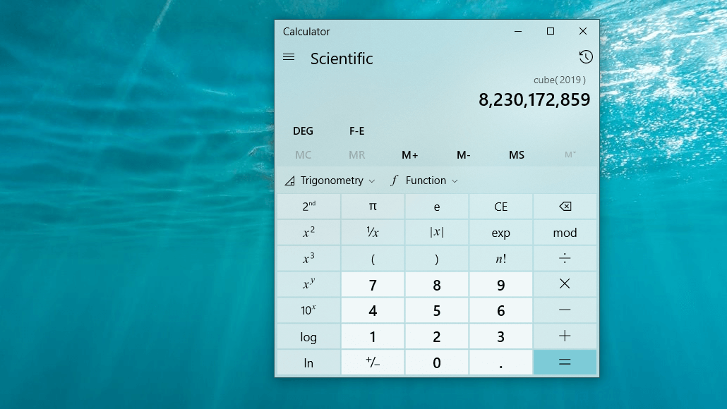 Calculator app showing scientific notation.