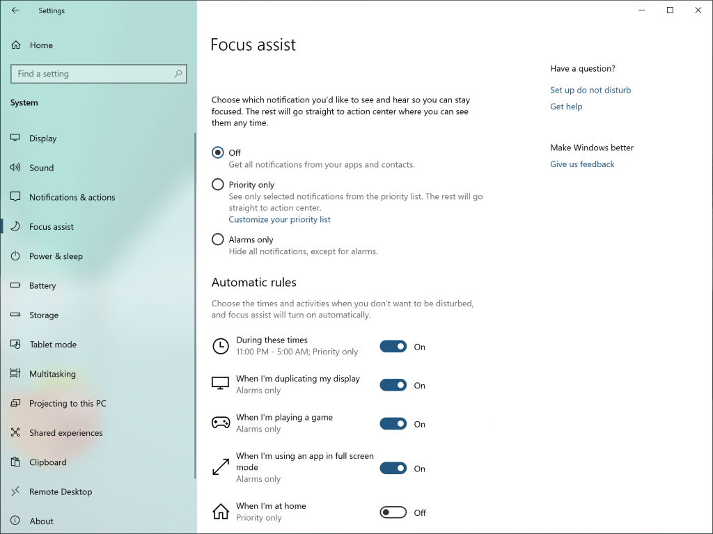 The Focus Assist's section in Settings, including automatic rules for when it will turn on.
