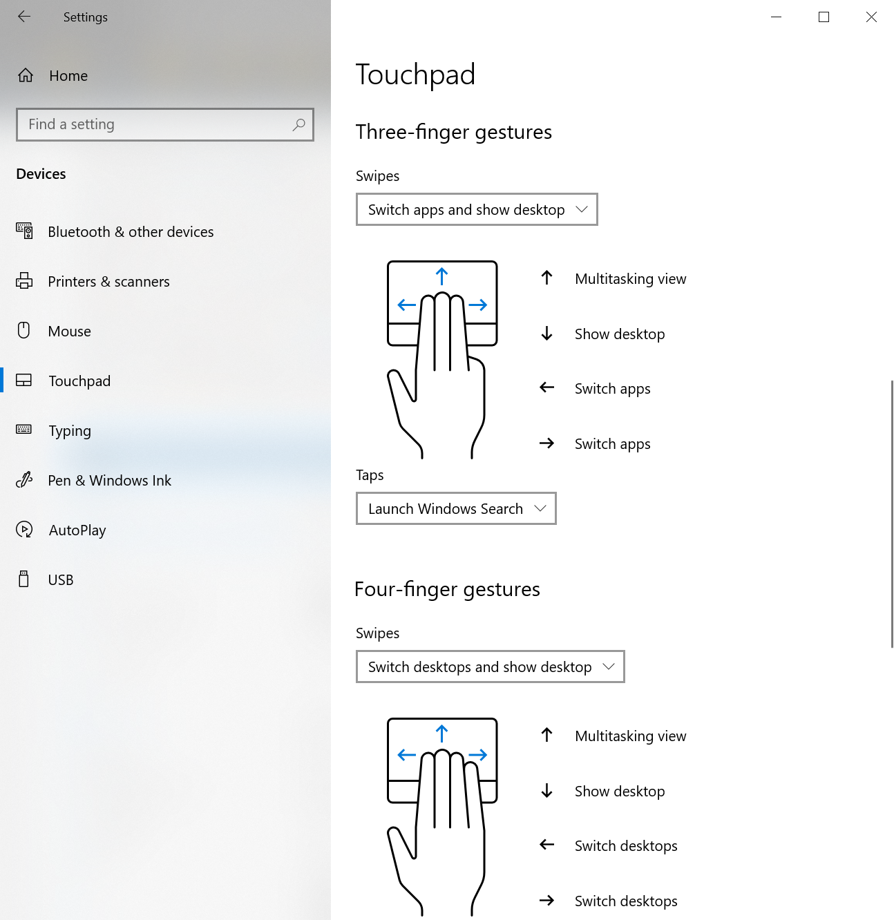 Adjust your touchpad's three-finger and four-finger gestures and more in the Touchpad section of the Settings app.