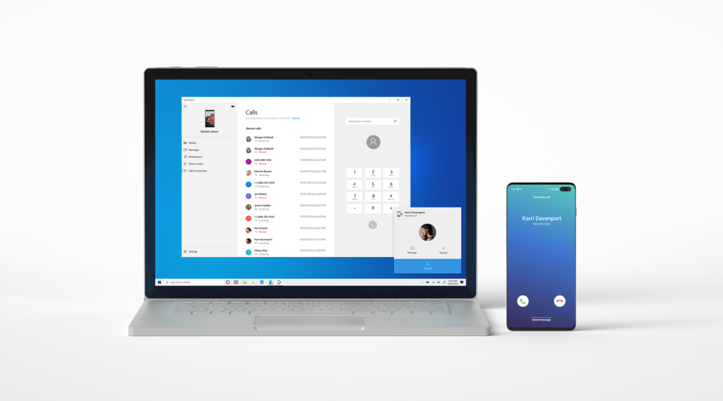 Screen showing incoming phone call on the PC with the Your Phone app.