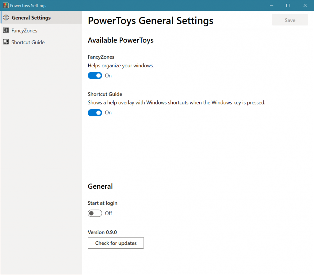 PowerToys General Settings for turning on FancyZones and more.