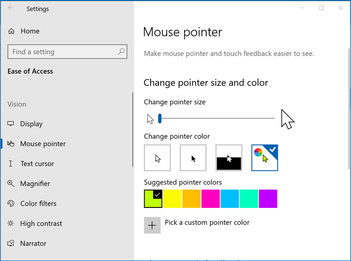 The options for changing your mouse's size and color with the Mouse pointer settings in the Ease of Access section of Settings.