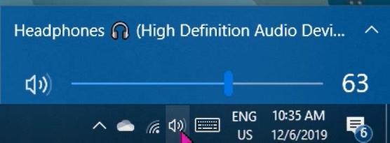 Adjusting your volume levels from the volume flyout of the taskbar.