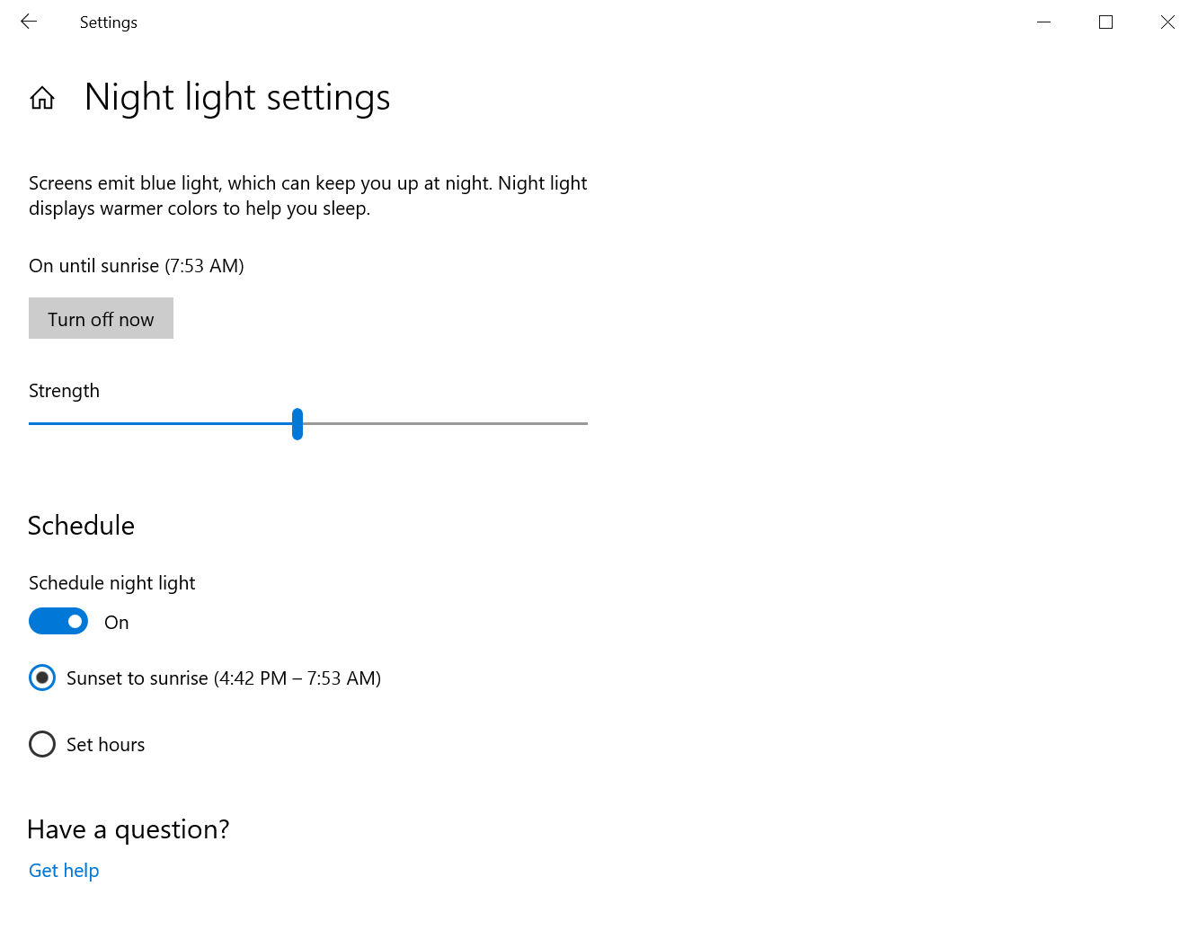Using the night light settings to set its strength and schedule.