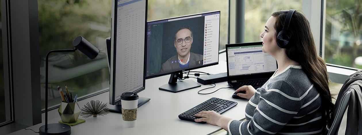 A woman conducting an interview through Microsoft Teams.